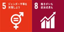 5.ジェンダー平等を実現しよう。8.働きがいも、経済成長も。